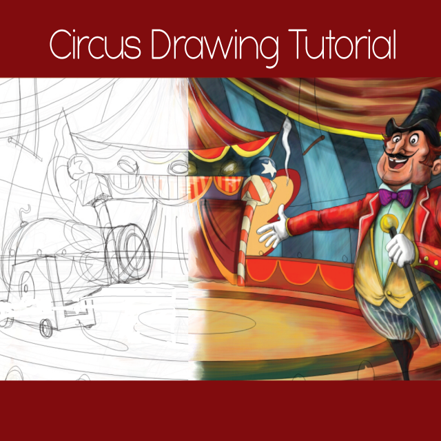 how to draw a circus step by step
