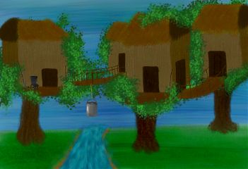 outside water tree zombie drawing house
