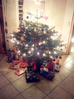 winter chtistmas presents family christmastree