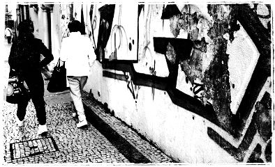 wall black & white photography people travel