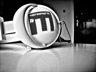 black & white photography music headphones